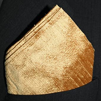 "Gold Dupioni Silk Pocket Square - Full-Sized 16"" x 16"""
