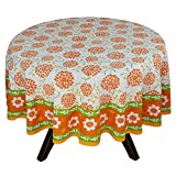 "70"" Round Tablecloth - Exquisite Green, Yellow, And Orange Floral Cotton - Handmade Indian Linen"