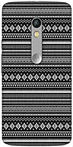 Snoogg Black And White Aztec Designer Protective Back Case Cover For Motorola Moto X Play