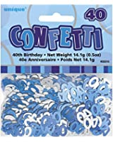Unique Party Glitz Foil 40th Birthday Confetti (Blue)