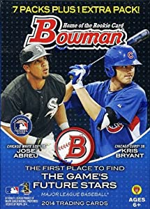 2014 Bowman MLB Baseball Factory Sealed EXCLUSIVE Blaster Box with 8 Packs and 80 Cards ! Look for Jose Abreau and Masahiro Tanaka Rookies Plus Exclusive Inserts and Autographs !