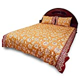 Little India Designer Bagru Print Cotton Double Bedsheet with 2 Pillow Covers - Yellow and Maroon