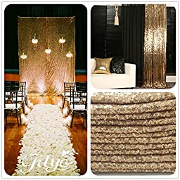 TRLYC Sequin Gold Curtain, Select you size, Sparkly Gold Sequin Fabric Photography Backdrop, Best Wedding/Home/Party Fashion Decoration