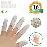 Gel Finger Cots,Finger Cover,Silicones Finger Protectors(16PCS)*Waterproof*Finger Sleeves Great for Finger Arthritis,Finger Psoriasis,Hand Eczema,Finger Craking,Finger Trigger. (Color: White, Tamaño: small)