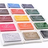 Craft Ink Pad Stamps Partner DIY Color, 15 Color Ink Pad for Stamps, Paper, Wood Fabric, Kid's Rubber Stamp Scrapbooking Card Making Beautiful Water-Soluble Colors (Pack of 15) by Weierken. (Color: M 15 color)