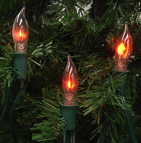 Set of 7 flicker flame shape c18 christmas lights green for Large outdoor christmas candles