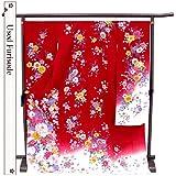 【振袖 中古】/正絹仕立て上がり(Aランク)  No,171:赤×ピンク/花々 (LLサイズ)  振袖 中古 美品 成人式 リサイクル着物  着物 正絹 USED  【中古】