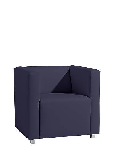 Max Winzer 25392-1100-2070146 Sessel Corrado, kubischer Einzelsessel, Kunstleder, dunkelblau