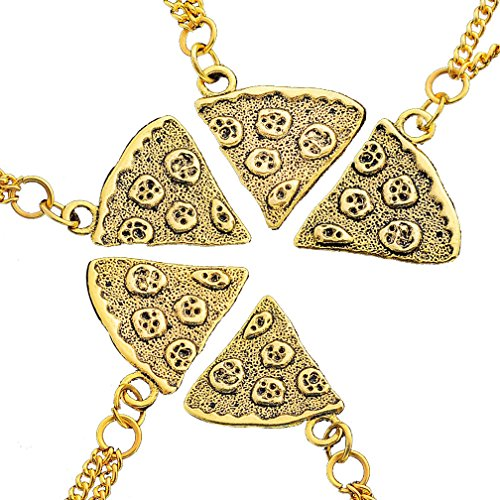 MJartoria Antique Gold Color Pizza Slice Friendship Necklace Set of 5
