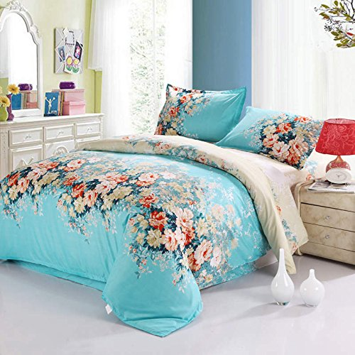 100% Cotton 3-Piece Blue Flowers Printed Duvet Covers Sets for Girls (1 Duvet Cover+1 Bed Sheet + 2 Pillowcases) Full 1