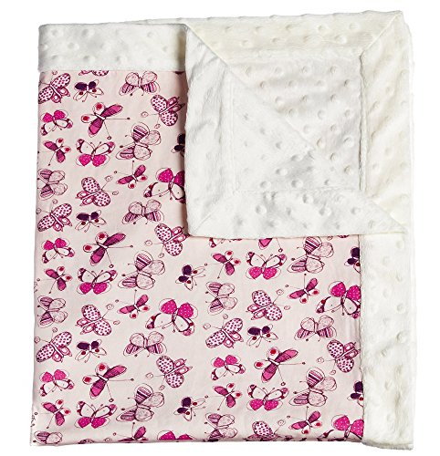 Butterflies Patterned Pastel Minky Dot Blanket - 1