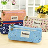 Ipow Flower Floral Canvas Cosmetic Pen Pencil Stationery Pouch Bag Case, Set of 4 (Pastorabl)
