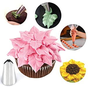 Russian Piping Tips 27pcs Baking Supplies Set Cake Decorating Tips for Cupcake Cookies Birthday Party, 12 Icing Tips 2 Leaf Piping Tips 2 Couplers 10 Pastry Baking Bags (Color: 27pcs Russian Tips, Tamaño: One Size)