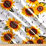Oilcloth Sunflower Yellow/White Fabric By The Yard