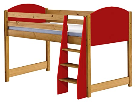 Design Vicenza Verona Mid Sleeper Bed Long 3ft Antique With Red Details