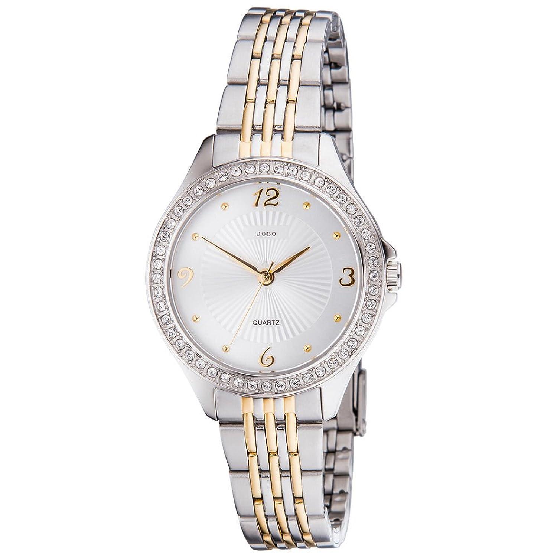 Damen Armbanduhr – Quarz-Analog – Gehäuse – Band und Boden Edelstahl – mit Swarovski-Elements – teilvergoldet als Geschenk