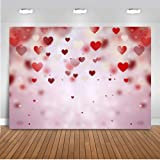 Mocsicka Valentine's Day Background Red Heart Decoration Photography Backdrops 7x5ft Vinyl Backdrop Photo Backgrounds for Valentine's Day Photo Props Video Photography Background Props (Color: Red Heart, Tamaño: 7x5ft)