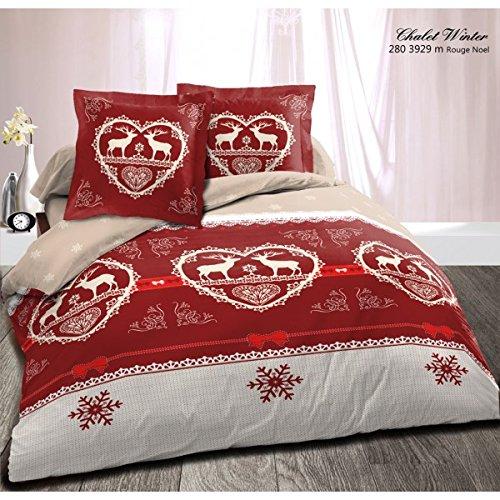 Alpes Blanc - Set copripiumino motivo Chalet Winter, 240x260 cm, colore: Rosso