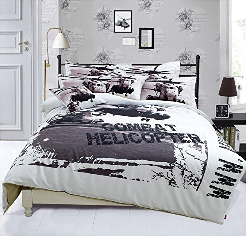 Zacard Teens Bedding Sets Apache Helicopters Bedding Sets Boys Bedding Set Fitted / Flat Sheet Sets Twin Full Queen (Flat Sheet, Full)