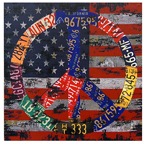 Oriental Furniture American Flag Peace Canvas Wall Art