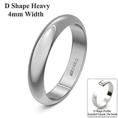 Xzara Jewellery - Platinum 4mm Extra Heavy D Shape Hallmarked Ladies/Gents 7.3 Grams Wedding Ring Band