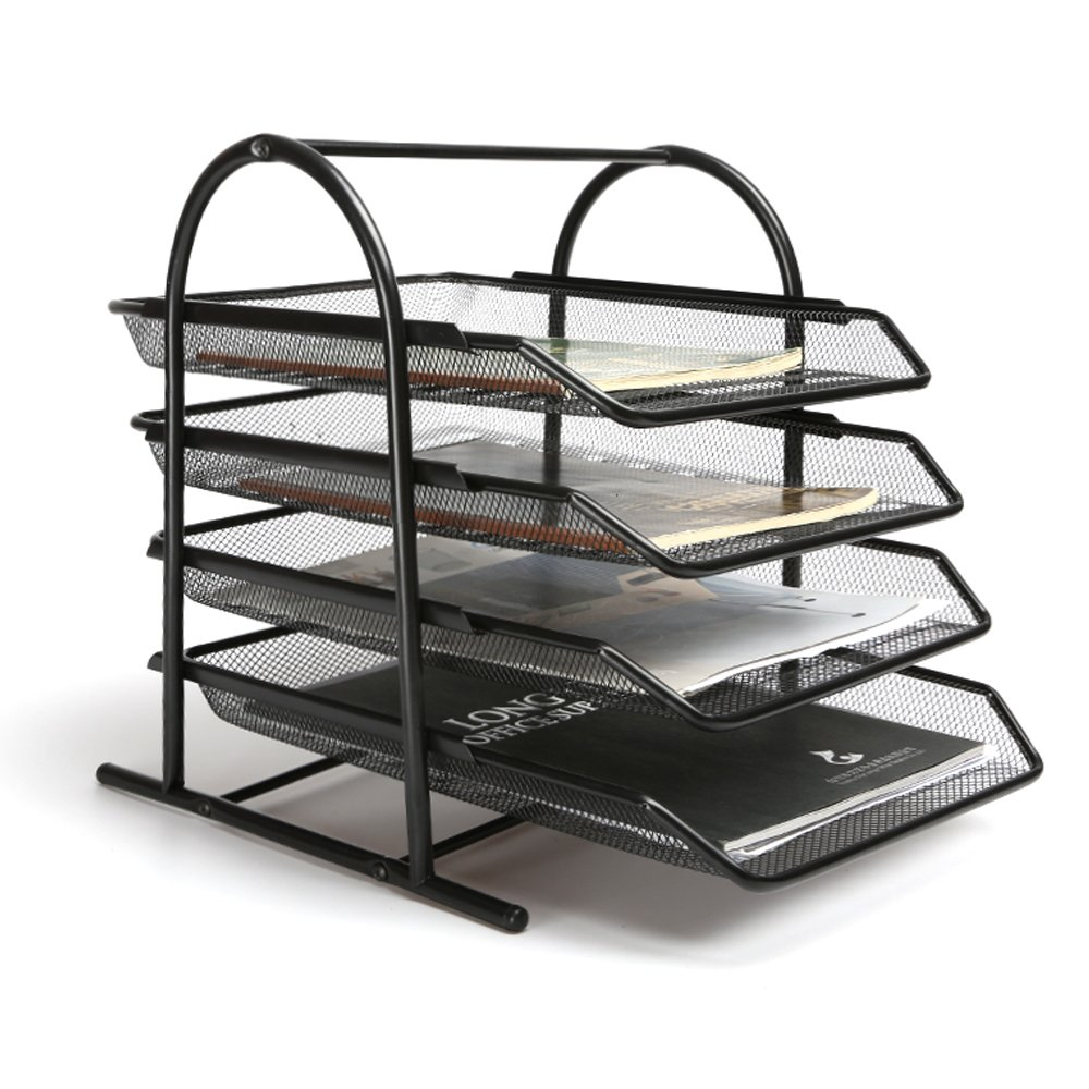 4 Tier Steel Mesh Desk Tray Letter Paper File Holder