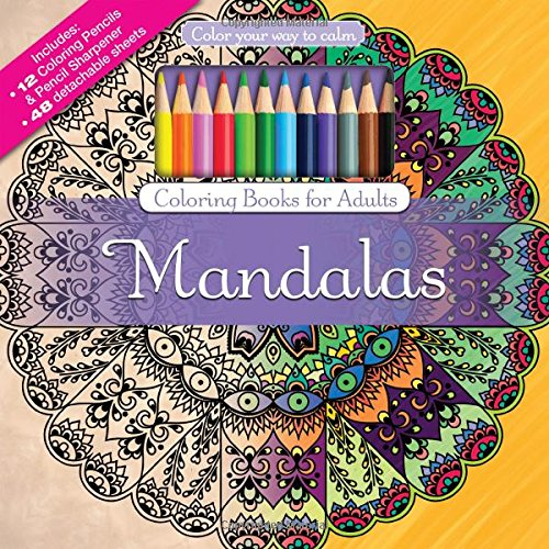 Mandalas Adult Coloring Book Set With Colored Pencils And Pencil Sharpener Included: Color Your Way To Calm (Color with Music) (Colored Pencil Patterns compare prices)