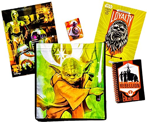 [5 item LIMITED Disney Star Wars Bundle Exclusive [Chewbacca Coloring Book, Droid Pocket Folder, BB-8 Crayons, Rebellion Journal & Recyclable Tote bag (General Yoda Lightsaber] (Star Wars The Force Unleashed 2 Darth Vader Costume Cheat Xbox)