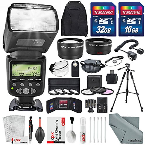 58MM 2.2x Telephoto & 0.43X Wide Angle HD w/ SLR AF Power Zoom Flash and Professional Accessories for CANON REBEL (T6s T6i T6 T5i T4i T3i T3 T2i XT XTi XSi), EOS (700D 650D 600D 1100D 550D 500D 100D) (Canon T3i Filters compare prices)