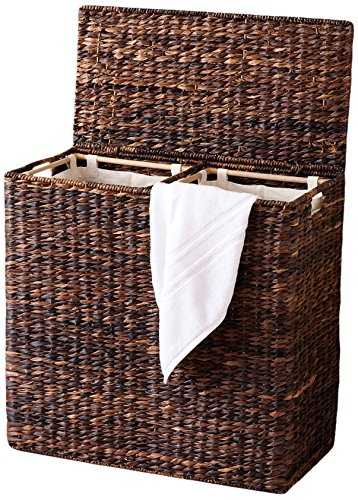 Laundry hamper with lid liner in wicker chrome or wood - Wicker laundry basket with liner and lid ...