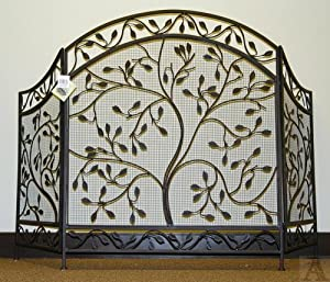 iron leaf leaves tree of fireplace screen
