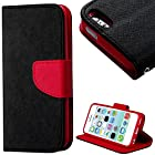 myLife (TM) Dark Black and Deep Red {Solid Colors Design} Faux Leather (Card, Cash and ID Holder + Magnetic Closing) Slim Wallet for the iPhone 5C Smartphone by Apple (External Textured Synthetic Leather with Magnetic Clip + Internal Secure Snap In Hard Rubberized Bumper Holder)