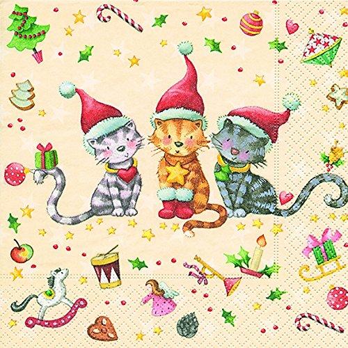 lunch-servietten-serviette-33-x-33-cm-all-i-want-katze-weihnachten-winter-schnee-tiere-wald-schneema