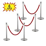 LAZYMOON Pack of 6 Stanchion Posts Set Queue Safety Barrier with Red Velvet Ropes, Silver (Color: Red)