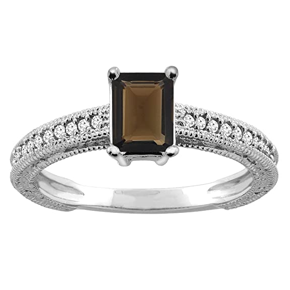 Revoni 14ct Gold Natural Smoky Topaz Engagement Ring Octagon 8x6mm Diamond Accents