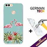 Huawei P Smart Cover Gel Flexible, [ +1 Tempered Glass Screen Protector ], TPU German Tech Case made of Silicone, protects your Smartphone, with our exclusive designs - Summertime Flamingo.