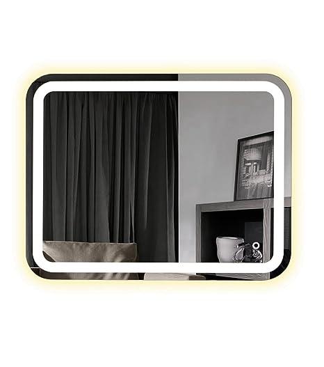 Specchio bagno LED riscaldati Anti Snowpark con tasto Sensitive Aida 80cm 100cm e 120cm, Chaude, 80_x_60_cm