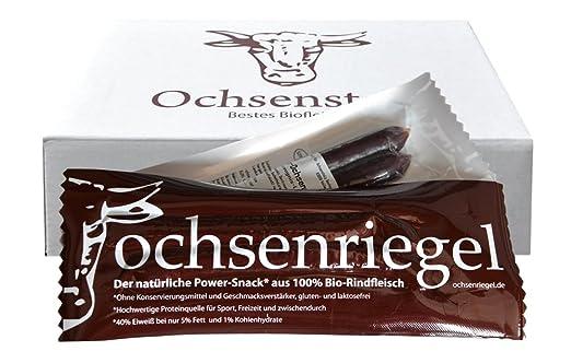 Ochsenriegel 10er-Pack (500g): Bio Proteinriegel Paleo Low Carb 100% Weiderind
