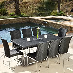9 piece outdoor pe wicker patio furniture dining set weather resistant iron frame. Black Bedroom Furniture Sets. Home Design Ideas