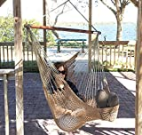 Krazy Outdoors Mayan Hammock Chair - Large Hanging Swing Seat Cotton Rope Construction - Comfortable, Lightweight, Includes Wood Bar - Perfect for Yard, Patio or Beach (Mocha Brown)