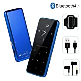 MP3 Player - HonTaseng Bluetooth 4.2 Metal Touch Button Sport Music Player with Armband, 60 Hours Playback Time, HiFi Sound with Voice Recorder and FM Radio, Expandable 64GB TF Card, Blue (Color: X16Blue)