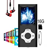 MP3 Player/MP4 Player, Hotechs MP3 Music Player with 16GB Memory SD card Slim Classic Digital LCD 1.82'' Screen MINI USB Port with FM Radio, Voice record (Color: 16GB-Black-New)
