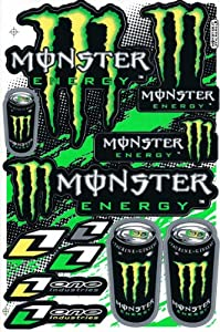 Monster Energy Graphic Racing Sticker Decal Motorcycle ATV 1 Sheet Green/Yellow ME005