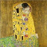 Leinwandbild 100 x 100 cm: Der Kuss von Gustav Klimt – fertiges Wandbild, Bild auf Keilrahmen, Fertigbild auf echter Leinwand, Leinwanddruck