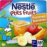 Nestlé Bébé P'tits Fruits Pommes Bananes Compote dès 4/6 mois 4 x 100 g - Lot de 6 (24 coupelles)