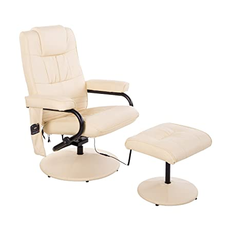 Homcom 921-006CW Massagesessel, Lederimitat, creme, 77.0 x 73.0 x 95.0 cm