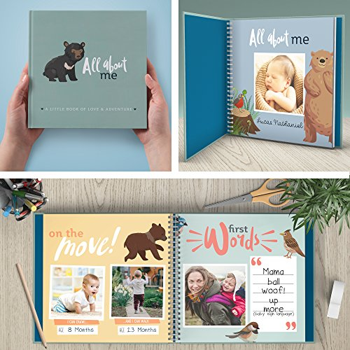 First Year Baby Memory Book & Baby Journal. Modern baby shower gift & keepsake for new parents to record photos & milestones. Five year scrapbook & picture album for boy & girl babies. (Woodland)