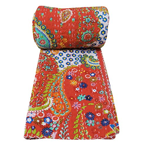 "Red Kantha Style Traditional Gudri Abstract Print Twin Size Quilt Bedspread 90"" X 62"" front-1036442"