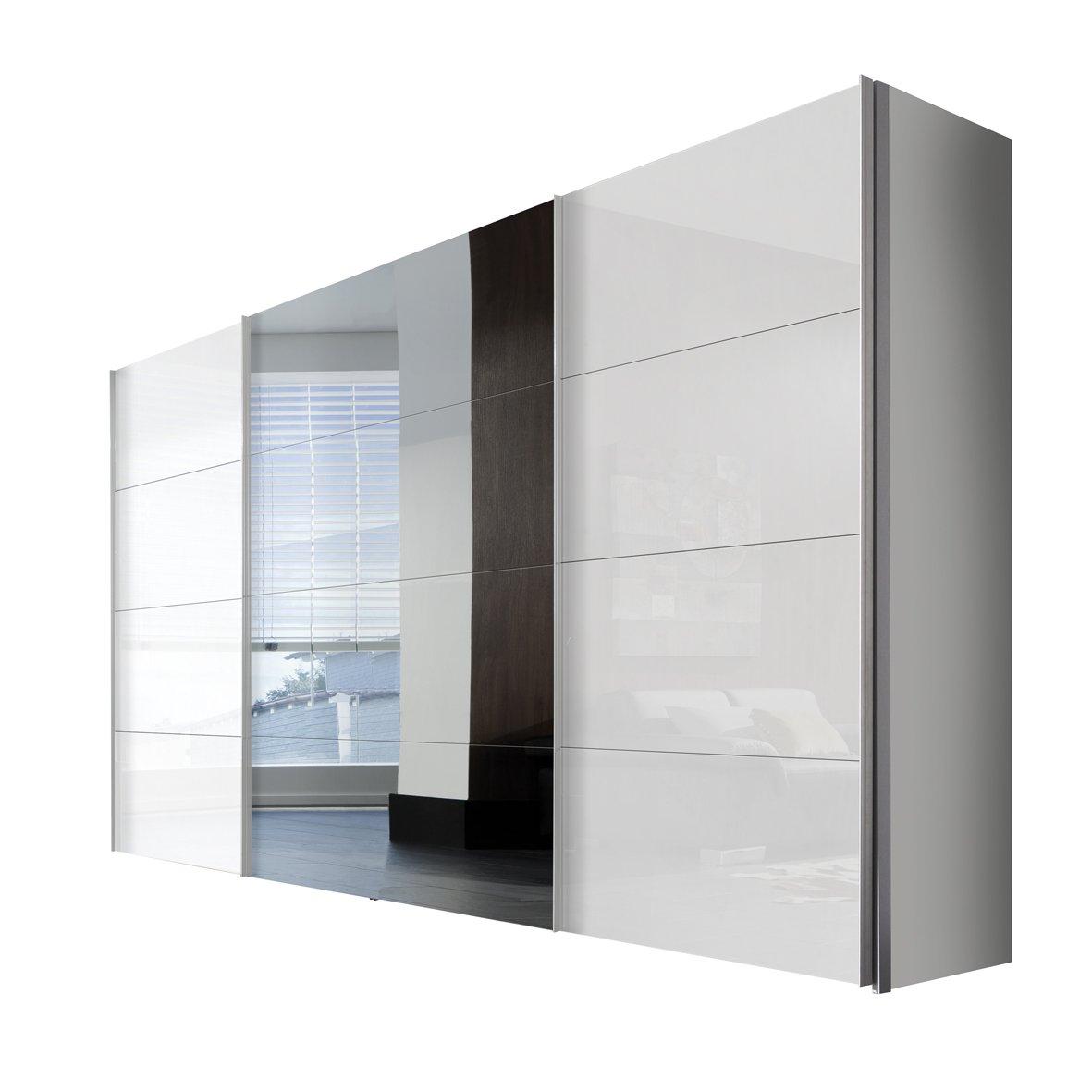 Solutions 47910-203 Schwebetürenschrank 3-türig, Korpus polarweiß, Front lack weiß, Spiegel, Griffleisten alufarben, 68 x 350 x 216 cm