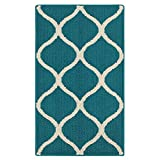 Kitchen Rugs, Maples Rugs [Made in USA][Rebecca] 1'8 x 2'10 Non Slip Padded Small Area Rugs for Living Room, Bedroom, and Entryway - Teal/Sand